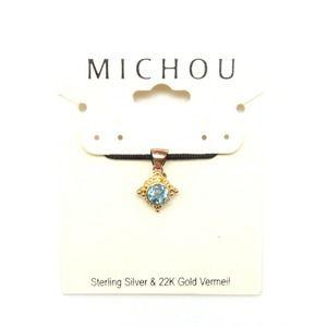 MICHOU MARCH Blue Topaz Square Silver Gold Pendant